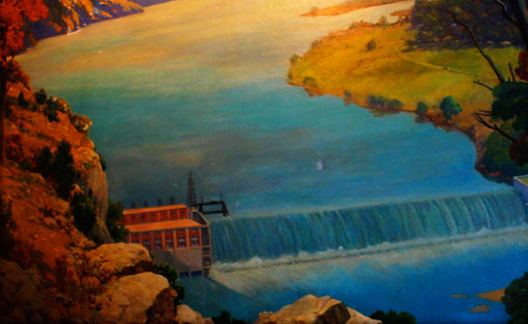 Lake Taneycomo Dam Lake Taneycomo Painting by