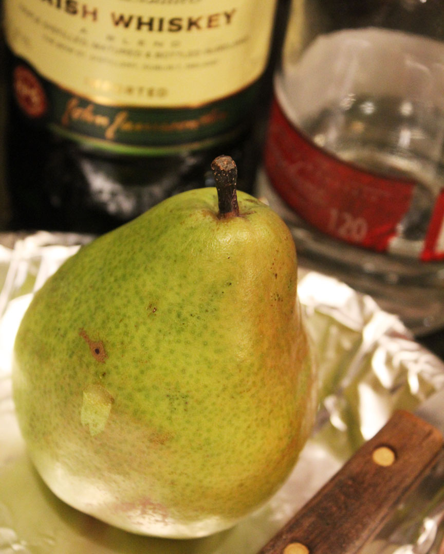 green pear with whiskey