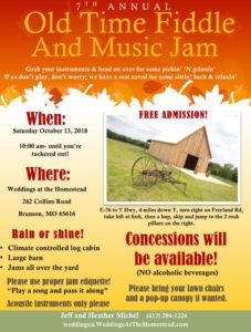 7th Annual Old Time Fiddle and Music Jam @ Weddings at the Homestead